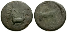 Ancient Coins - Tauric Chersonesos.  Chersonesos Æ20 / Artemis Spearing Stag / Bull