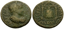 Ancient Coins - Philip II, Pamphylia Perga Æ24 / Temple of Artemis