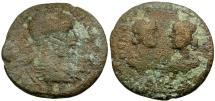 Ancient Coins - Severus Alexander.  Cilicia, Seleucia ad Calycadnum Æ23 / Busts of Artemis and Apollo