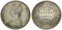 World Coins - India.  Victoria AR One Rupee