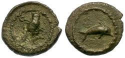 Ancient Coins - Phoenicia. Tyre. Uncertain King AR 1/16 Shekel / Dolphin