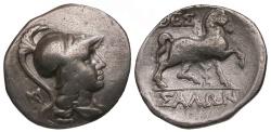 Ancient Coins - Thessaly. Thessalian League AR Drachm / Horse