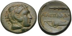 Ancient Coins - Kings of Macedon. Alexander III the Great (336-323 BC) Æ18 / Bowcase and Club