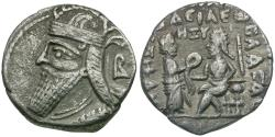 Ancient Coins - Kings of Parthia. Vologases IV (AD 147-191). BI Tetradrachm