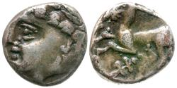 Ancient Coins - Ancient France. Celtic Gaul. Allobroges AR Quinarius / Gruel & Morin Plate Coin