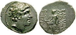 Ancient Coins - Seleukid Kingdom.  Alexander I Balas AR Drachm / Apollo Seated