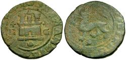 Ancient Coins - Spain. Philip II Æ Blanca / Lion