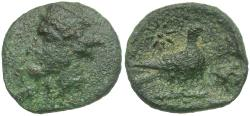 Ancient Coins - Cyprus. Uncertain Kings Æ16 / Pigeon with Rose Countermark