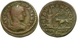 Ancient Coins - Gordian III (AD 238-244). Ionia. Magnesia ad Meandrum. Demoneikos as Grammateus Æ30 / Pyre and Ram