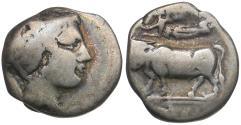 Ancient Coins - Campania. Neapolis AR Didrachm / Man-headed Bull