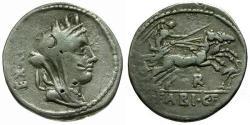 Ancient Coins - gF+/gF+ 102 BC - Roman Republic C. Fabius C.f. Hadrianus AR Denarius / Victory in Biga