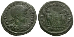 Ancient Coins - Constantius II as Caesar Æ4 / Soldiers and Standard