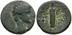 Ancient Coins - Augustus or Tiberius. Phrygia. Laodicea. magistrate Pythes Pythos Æ18 / Zeus