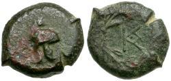 Ancient Coins - Sicily. Aetna. Campanian Mercenaries Æ13 / Helmet