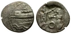 Ancient Coins - Phoenicia. Sidon. King Evagoras AR 1/16 Shekel / King Fighting Lion