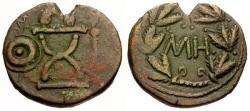 Ancient Coins - VF/VF Kings of Bosporus, Sauromates I Æ 48 Units / Curule chair / Wreath