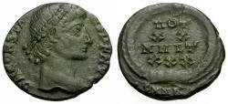 Ancient Coins - VF/VF Constans Æ4 / Votive wreath