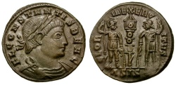 Ancient Coins - Constans as Caesar Æ4 / Soldiers and Standard