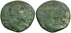 Ancient Coins - Septimius Severus. Arabia. Rabbathmoba Æ26 / Statue of Ares