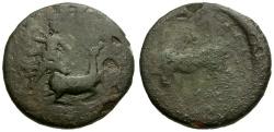 Ancient Coins - Tauric Chersonesos.  Chersonesos Æ20 / Artemis Spearing Stag / Bull
