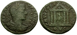 Ancient Coins - Gordian III, Ionia Smyrna Æ23 / Tyche in Temple