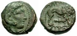 Ancient Coins - VF/VF Macedon, Amphipolis Æ14 / Lion