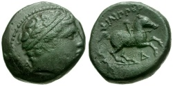 Ancient Coins - Kings of Macedon.  Philip II Æ18 / Youth on Horseback