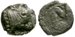 Ancient Coins - EF/F Thraco-Macedonian Region, Uncertain mint AR Hemiobol / Calf / Grapes