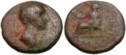 Ancient Coins - Agrippina Junior (AD 50-59). Phrygia. Eumenia Æ16 / Cybele Seated