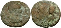 Ancient Coins - Severus Alexander.  Cilicia, Seleucia ad Calycadnum Æ23 / Busts of Artemis and Apollo