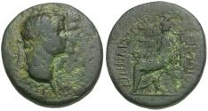 Ancient Coins - Claudius (AD 41-54) with Agrippina. Ionia. Smyrna Æ20 / Cybele Seated