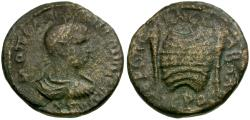 Ancient Coins - Diadumenian as Caesar. Cilicia. Hierapolis-Castabala Æ22 / Prize Crown and Torches