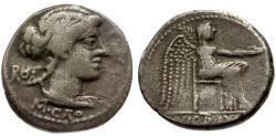 Ancient Coins - aVF/aVF 89 BC - Roman Republic M. Cato AR Denarius / Victoria Virgo