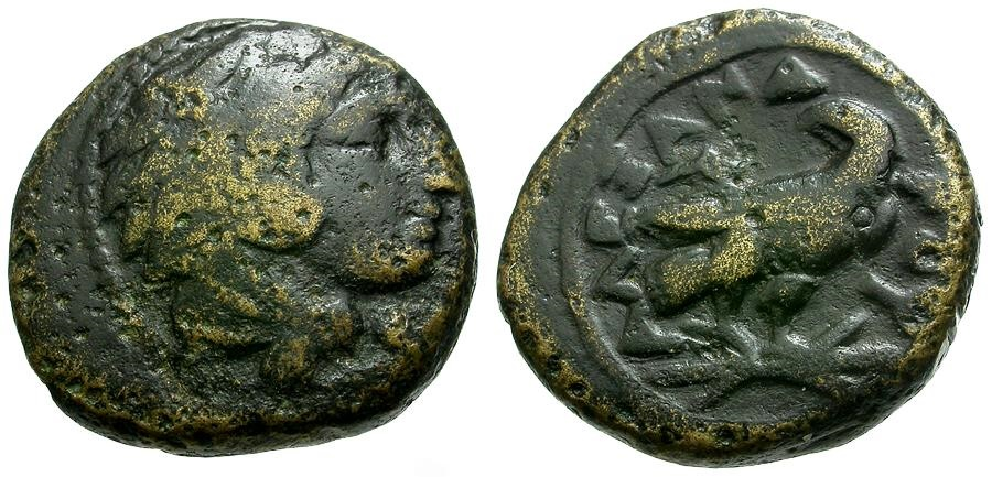 Ancient Coins - Kings of Macedon.  Alexander III The Great Æ17 / Eagle on Thunderbolt