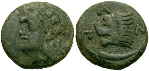 Ancient Coins - aVF/aVF Pantikapaion AE / Pan and Lion with Sturgeon