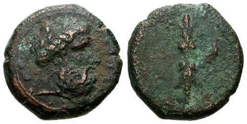 Ancient Coins - F+/F Sicily Syracuse Time of Dion AE22 / Thunderbolt