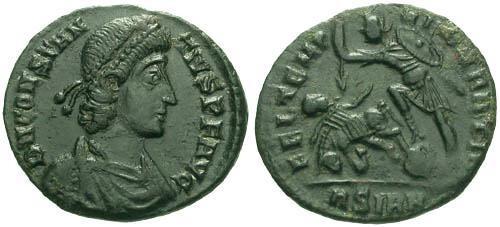 Ancient Coins - EF/VF Constantius II Half Centenionalis / Spearing Fallen Horseman
