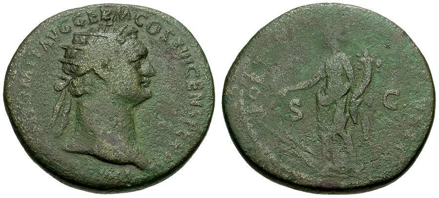 Ancient Coins - Domitian Æ Dupondius / Fortuna