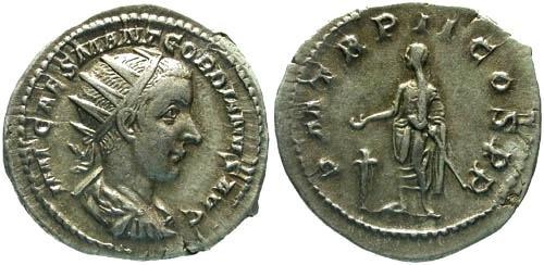 Ancient Coins - VF/VF Gordian III AR Antoninianus / Gordian Sacrificing