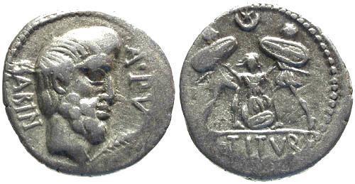 Ancient Coins - 89 BC / aVF/aVF Tituria 5 Roman Republic Denarius / Tarpeia buried in shields