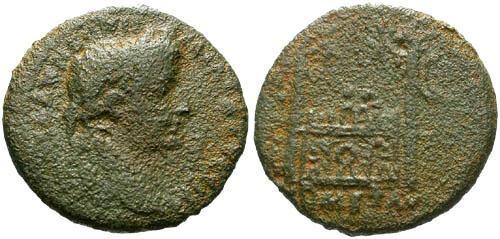 Ancient Coins - F/F Augustus Rare AE Semis / Altar of Lugdunum