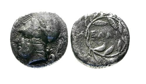Ancient Coins - VF/aVF Aeolis Elaia AR Diobol / Athena