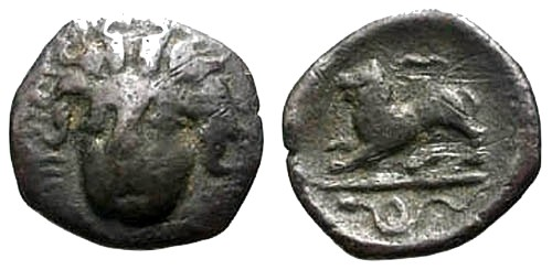 Ancient Coins - VF/VF Campania Phistelia AR Obol / Lion