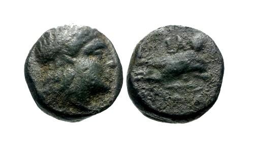 Ancient Coins - VF/VF Caria Iasus AE13 / Apollo / Hermias on dolphin