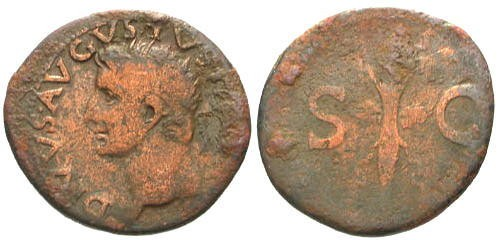Ancient Coins - gF/aF Divus Augustus AE AS by Tiberius / Thunderbolt
