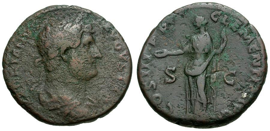 Ancient Coins - Hadrian Æ AS / Clementia