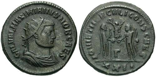Ancient Coins - VF/VF Galerius as Caesar Antoninianus Antioch Mint