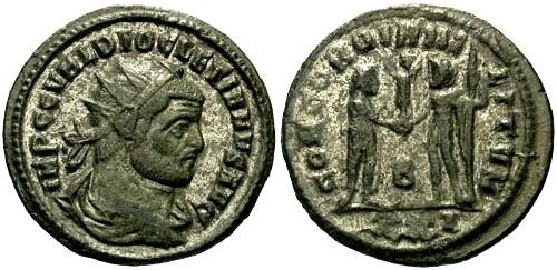 Ancient Coins - EF/VF Diocletian Follis / Jupiter and Diocletian