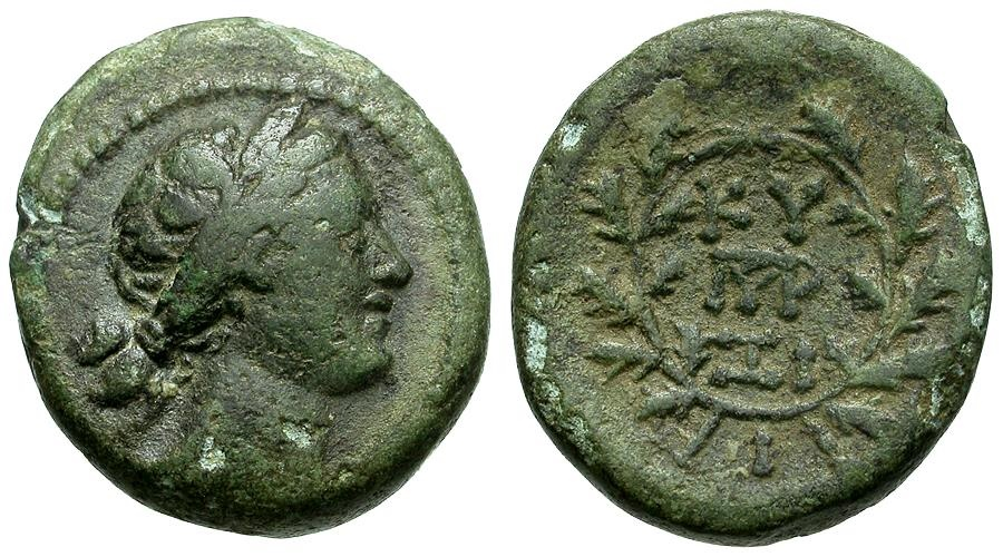 Ancient Coins - Mysia.  Kyzikos Æ19 / Kore Soteira / Wreath