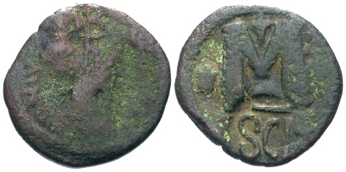 Ancient Coins - VG/F Heraclius Counterstamped Bronze